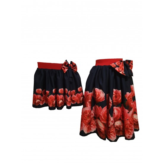 Set Fusta Mama si Fiica Red Roses